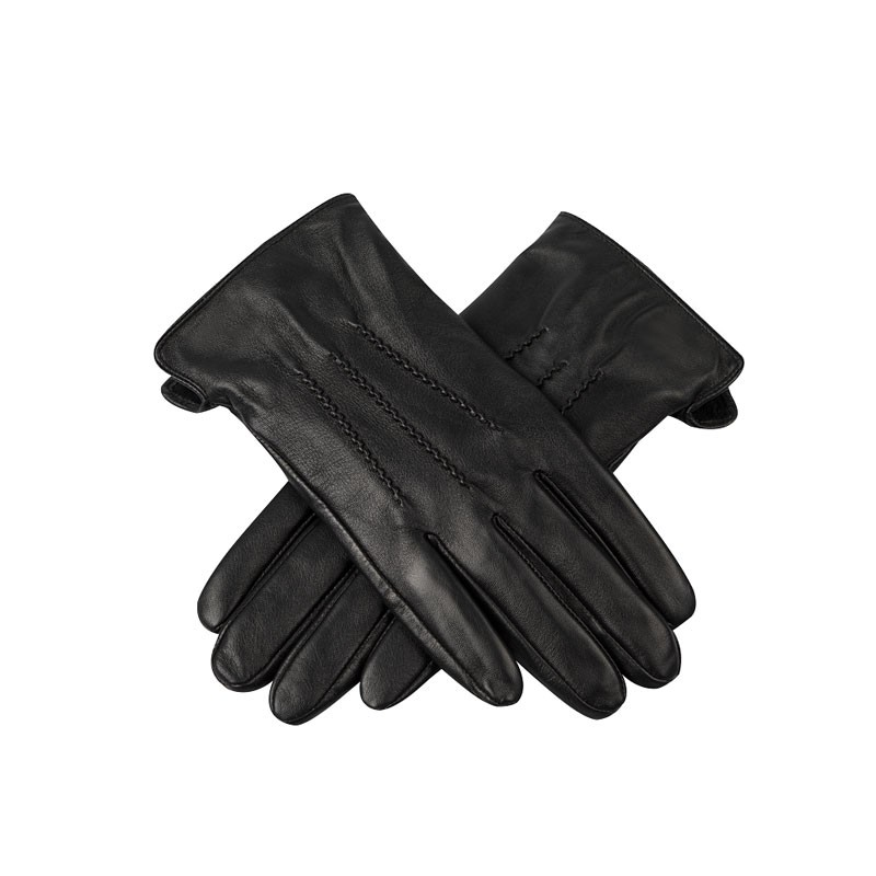 Double Layer Black Mens Leather Gloves