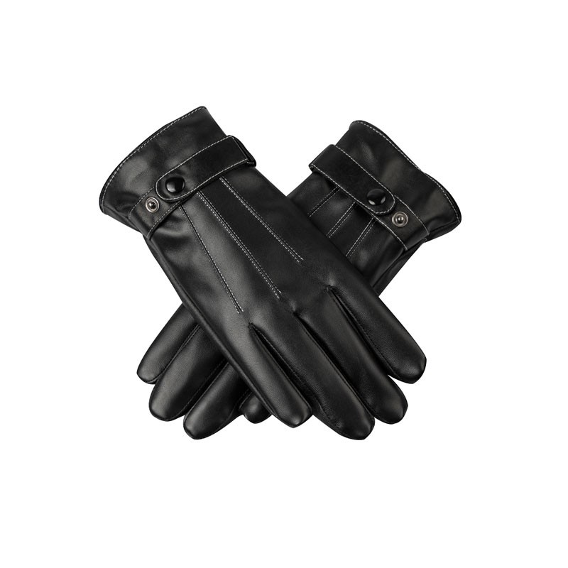 Soft Buckle Fasterned Mens Leather Gloves