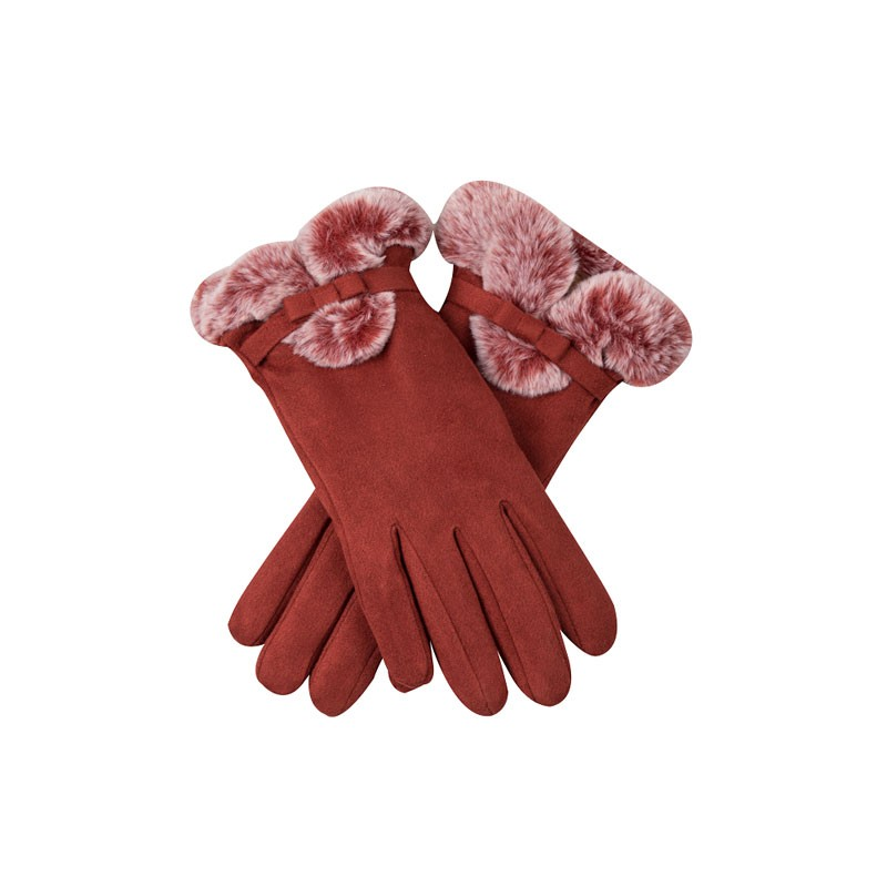 Fur Lining Warm Womens Leather Gloves