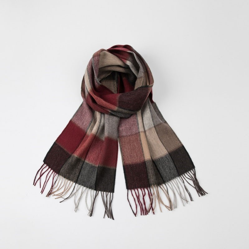 Plaid Fringed Womens Woven Scarf
