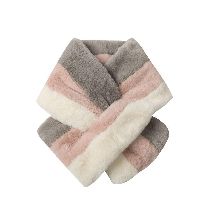 Stripe Moda Donna Faux Fur Scarf