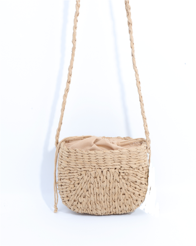 String closure straw bag