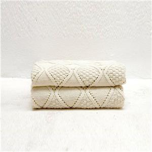 Knitted White Large Sofa Throw Blanket