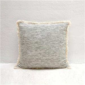 Custom Fluffy Grey Cotton Throw Pillow