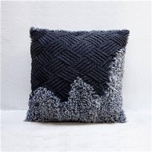 Navy Blue Fluffy Indoor Throw Pillow