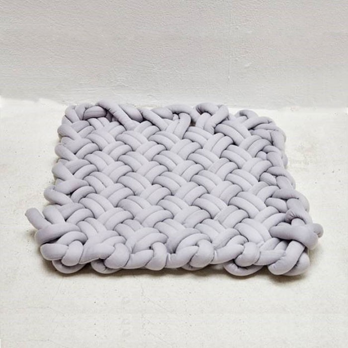 Knitted Grey Flat Bench Seat Cushion