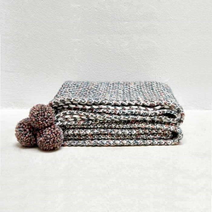 Colorful Yarn Knitted Cute Warm Throw Blanket