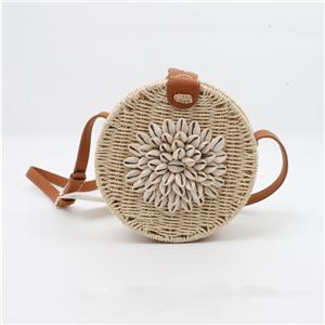 Seashell Decorated Round Cross Body Rattan Bag