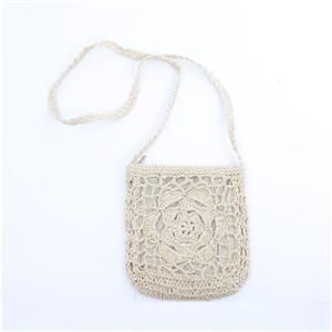 Floral Handmade Women's Cross Body Straw Bag