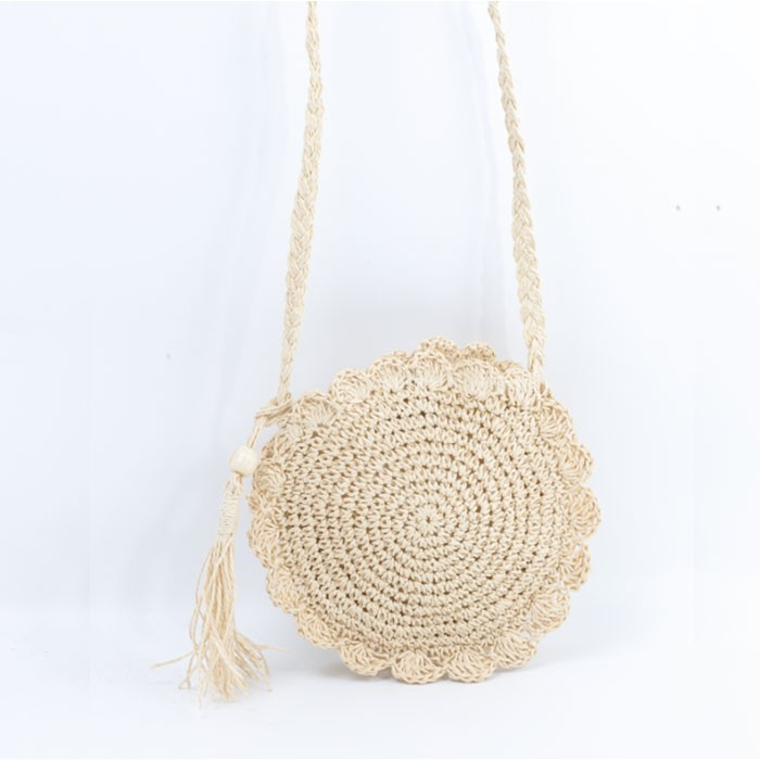Round Soft White Straw Shoulder Bag