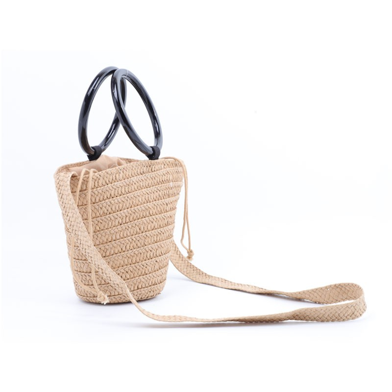Plastic Handle Bucket Straw Cross Body Bag
