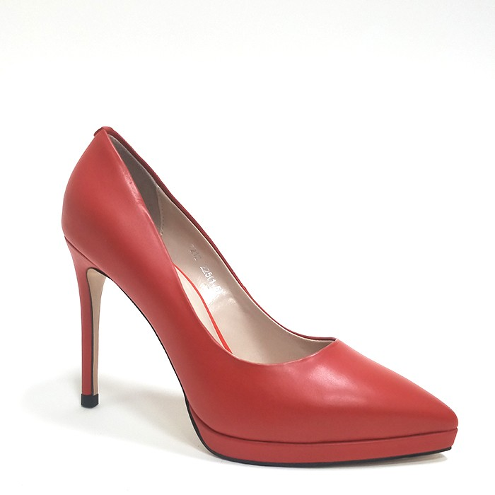 Fashion Women Platform Pumps Heels Pointy Toe Closed Pumps Shoes Real Leather Heels