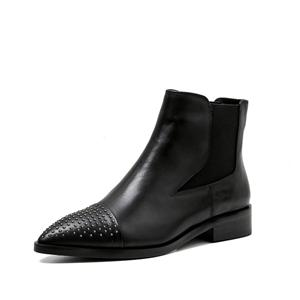 Newest Womens Black Leather Fashion Boots Pointed Toe With Rivet Ladies In Leather Loots Black Flat Leather Boots Ankle