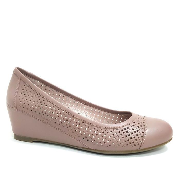 Women Leather Wedge Heel With Closed Toe Luxury Wedge Pump
