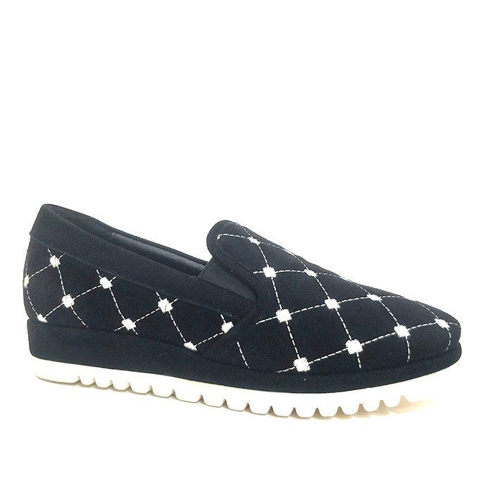 New Suede Penny Loafers Womens Black Driving Shoes With Embroidered