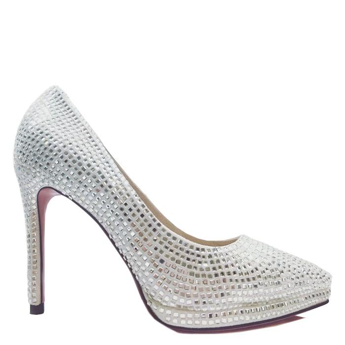 Νέες γυναίκες σχεδιαστής Καλύτερες νυφικές κρύσταλλο Γάμος Παπούτσια Πλατφόρμα Λευκές Αντλίες Αιχμηρός Δάχτυλο του ποδιού 9 ιντσών τακούνια