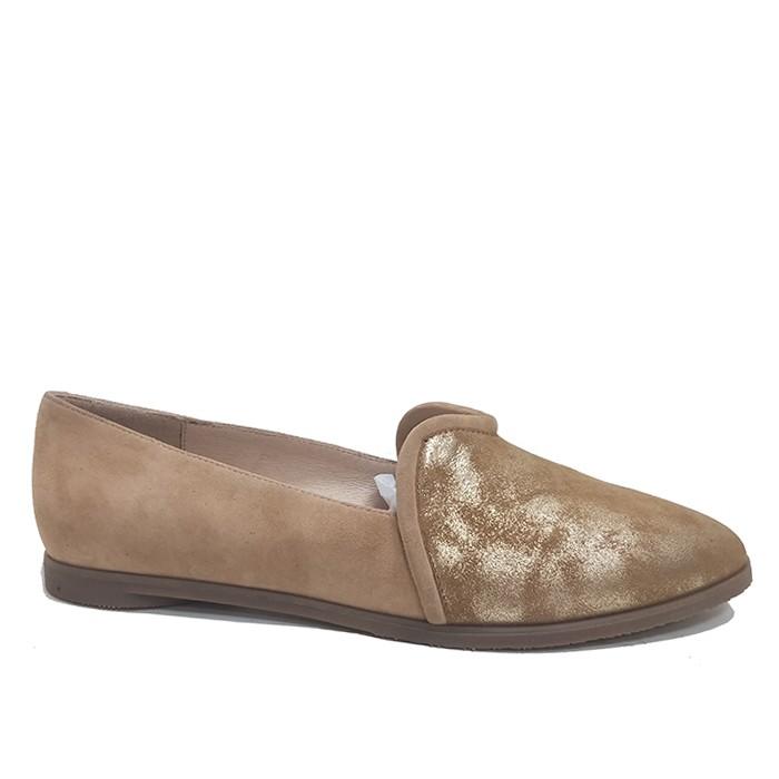 브라운 스웨이드 로퍼 여성 가죽 로퍼 플랫 발가락