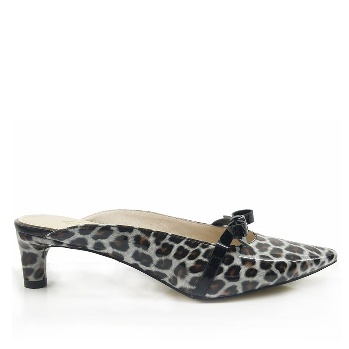 Women Mira Leopard Patent Leather Pointed Toe Low-heel Mules