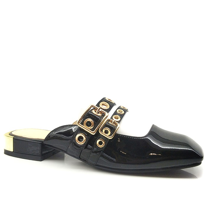 Women Patent Leather Mules Loafers Square Toe Slip On Loafers