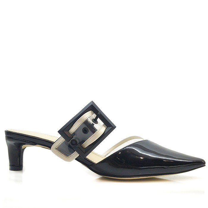 Women Leather Mule Dressy Pointed Toe Heels With Buckle