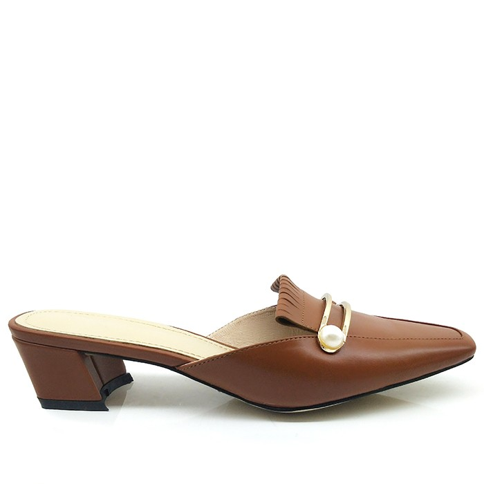 Women Block Heel Leather Mules Slide Square Toe With Metal Button