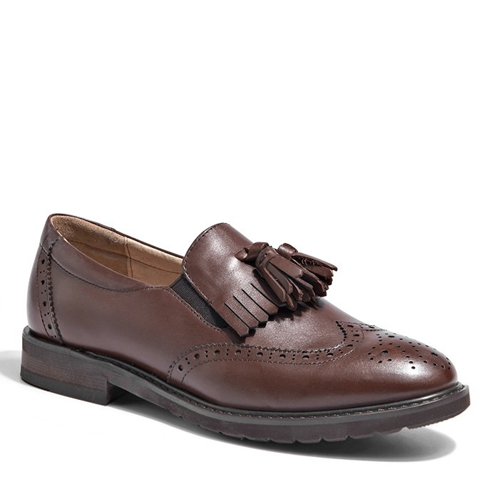 Women's Cordovan Penny Loafers Leather Tassel Loafers With Italian Carved