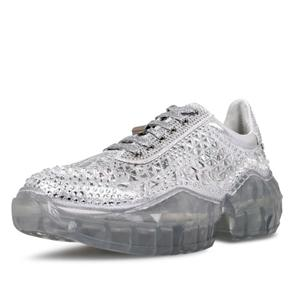 الأحذية المسطحة الفاخرة إسفين مع أحذية جلدية السيدات كريستال الديكور عارضة أحذية النساء