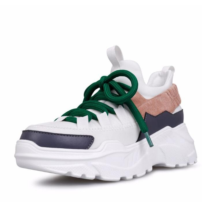 Genuine Leather Mesh Women Platform Clunky Sneakers Platform