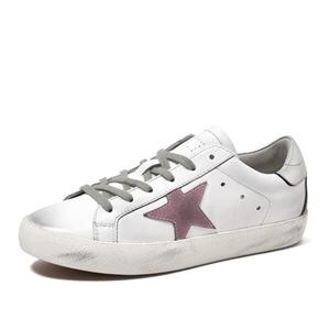 White Leather Tennis Shoes Lace-up Black And White Sneakers White Dirty Women Shoes With Star
