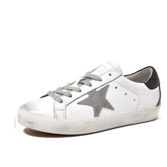 White Leather Tennis Shoes Lace-up Black And White Sneakers White Dirty Women Shoes With Star Manufacturers, White Leather Tennis Shoes Lace-up Black And White Sneakers White Dirty Women Shoes With Star Factory, Supply White Leather Tennis Shoes Lace-up Black And White Sneakers White Dirty Women Shoes With Star