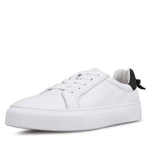 أحذية جلدية بيضاء للمرأة تنس المشي أحذية واسعة