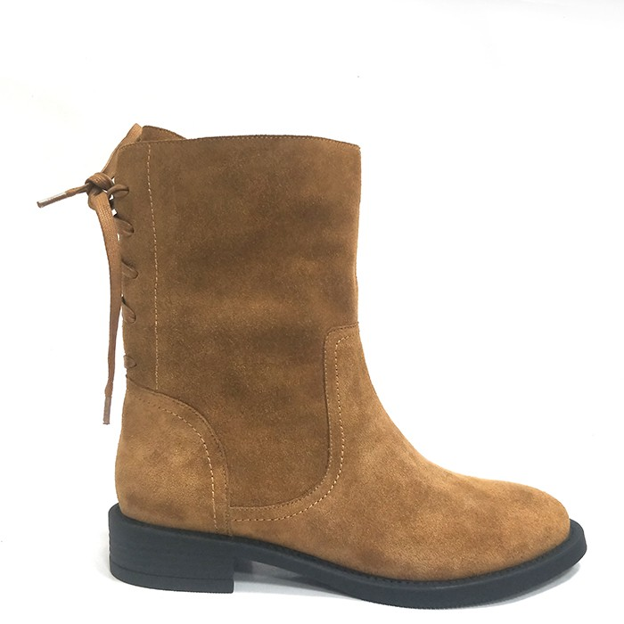 Womens Ankle Riding Booties Flat Suede Leather Round-toe Walking Bootes With Strap