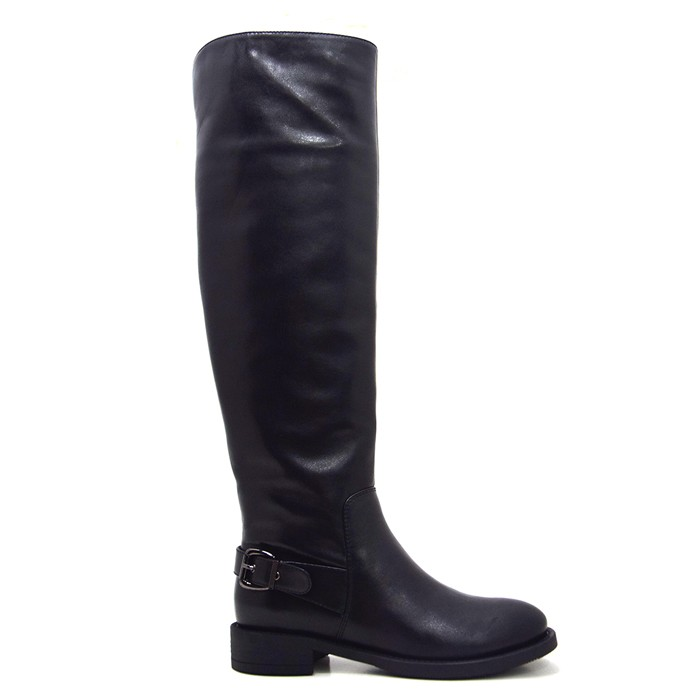 Over The Knee Calf Leather Boots Women Flat Riding Tall Boots