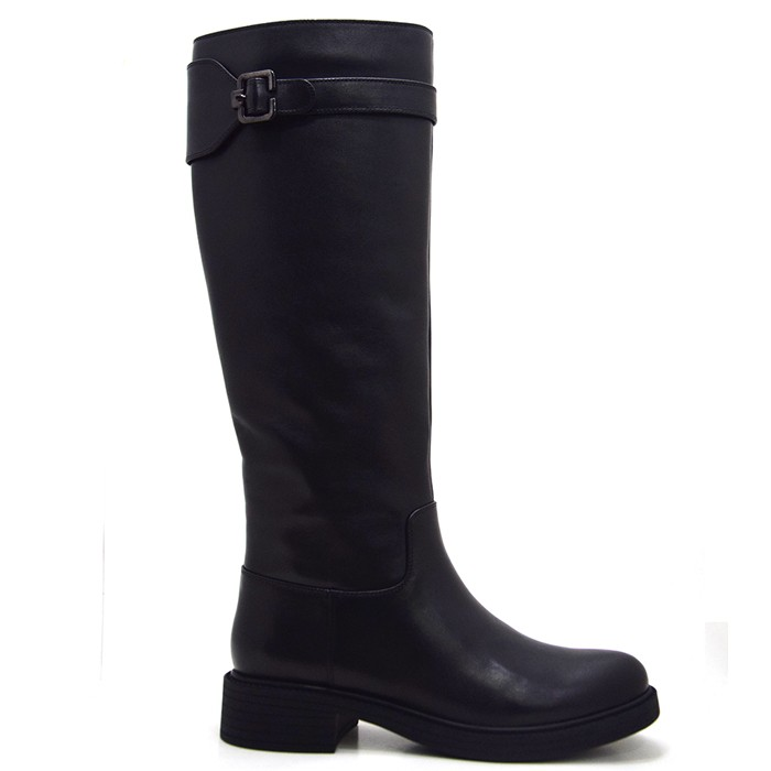 Black Leather Fashion Boots Knee High Women's Riding Boots