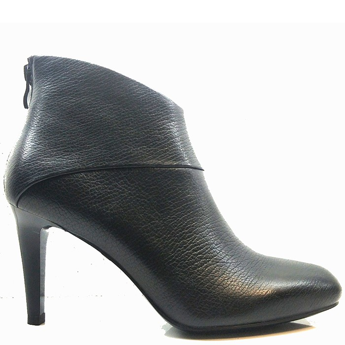 Ladies Leather Mid-heel Booties Round Toe Soft Ankle Boots Back Zip