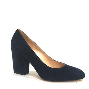 Women Block Heel Pumps Kid Suede Leather Black Wholesale
