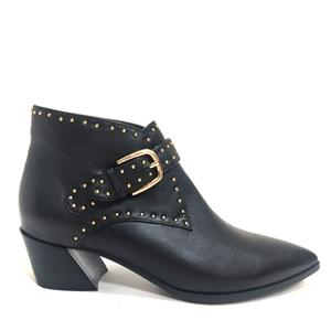 Ladies In Leather Ankle Boots Chunky Heel Slip On Boots Womens