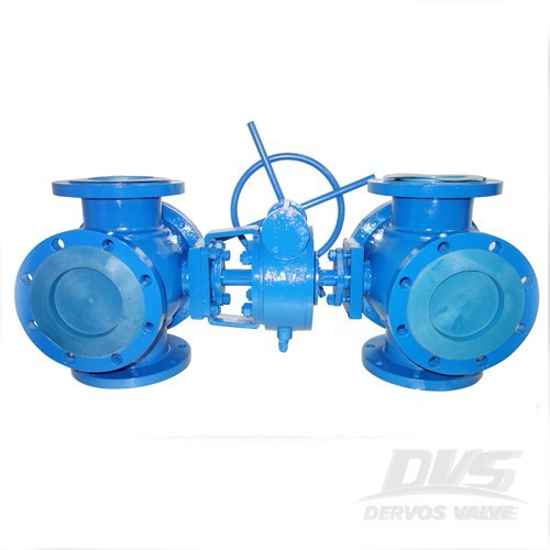 4 Way Ball Valve Cast Steel PN16 DN150 Gearbox