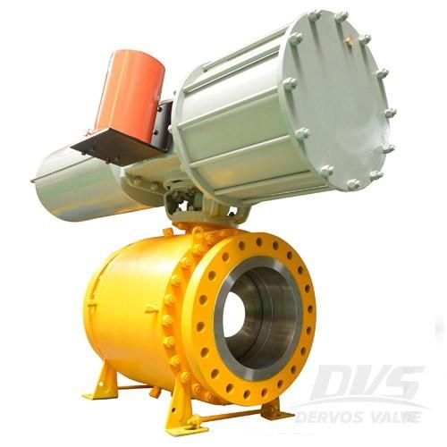 Пневматичен сферичен клапан Пълен отвор Пожаробезопасен DN300 PN40