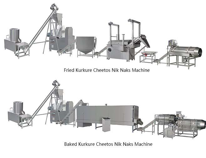 fried kurkure cheetos nik naks making machine