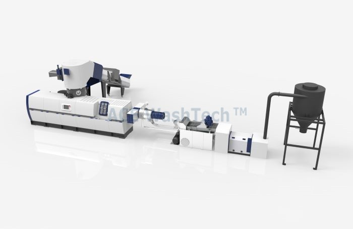 Two stage PP PE film Compacting pelletizing line