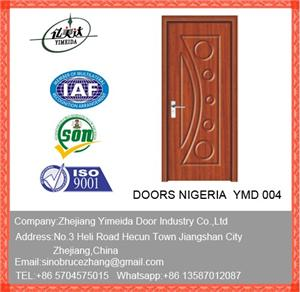 MDF With Pvc Bedroom Door With Stainless Steel Lines