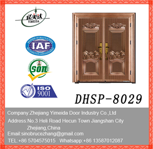 New Design Doule Leaf Copper Imitating Security Door Made In China