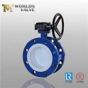 Full PTFE Lining Double Flanged Type Butterfly Valve