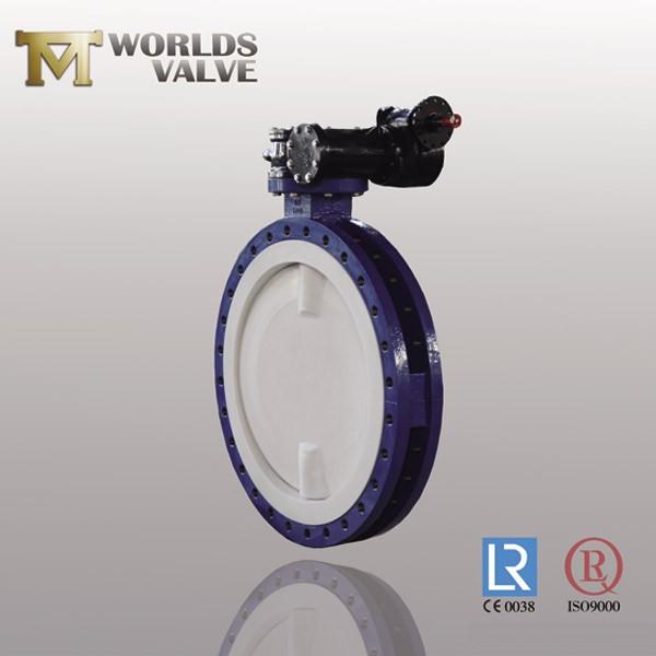 Válvula de mariposa tipo brida con revestimiento de PTFE completo