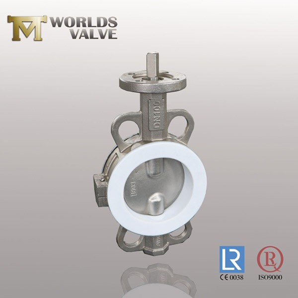 PFA Lining Wafer Type Stainless Steel Butterfly Valve