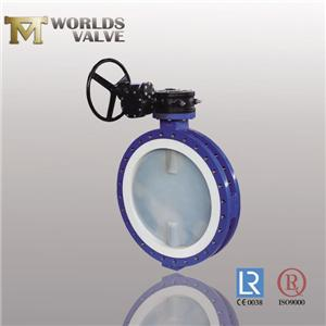 PFA Lined Plate Double Flanged Type Butterfly Valve