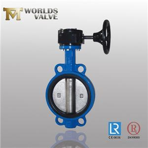 Rubber Seated Ductile Iron Gear Wafer Butterfly Valve