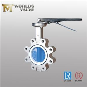 Cf8m Stainless Steel Fkm Liner Lug Butterfly Valve