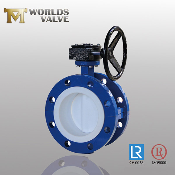 full PTFE lining u flanged type butterfly valve